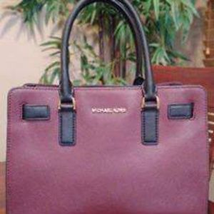 Michael Kors Burgundy/Black Colorblock Satchel